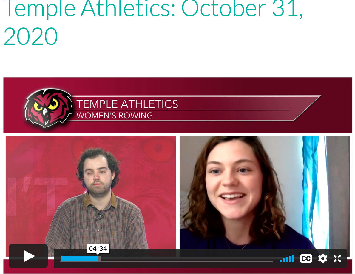 Temple Rowing TV Interview 10/30/2020